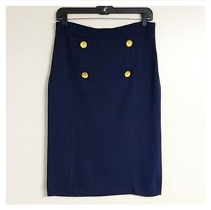 Grace Navy Blue Gold Button Modest Midi Skirt M